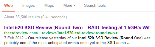 Intel 520 Google Results