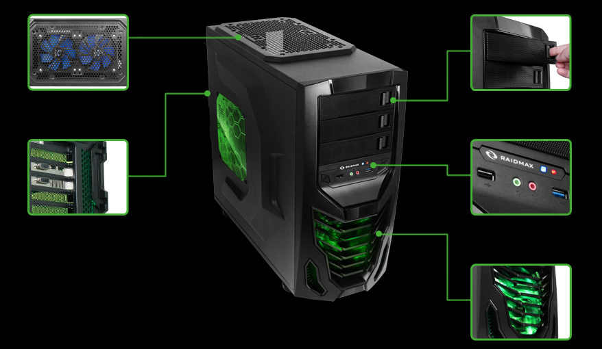 Raidmax Cobra ATX Gaming Chassis PC Case Green