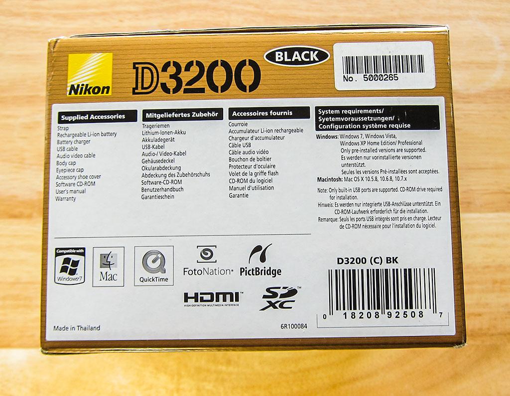 nikon d3200 dslr camera box back
