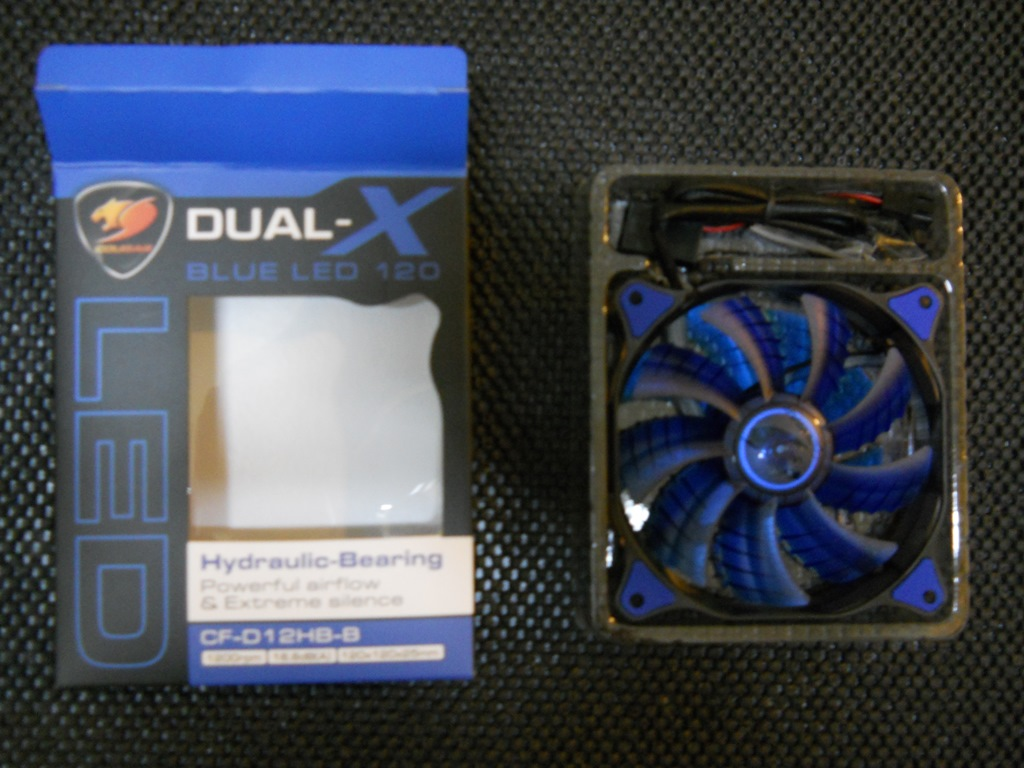 cougar dual x 120mm case fan blue led