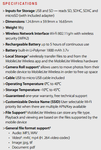 kingston mobilelite wireless specs