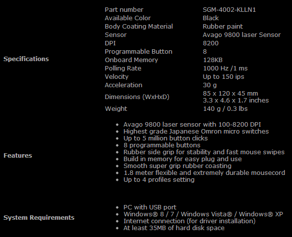cooler master storm havoc gaming mouse specifications